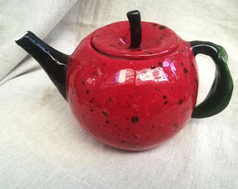 Pottery Teapot Apple. Ceramic Tea Pot. Handmade and Hand Painted Clay Teapot