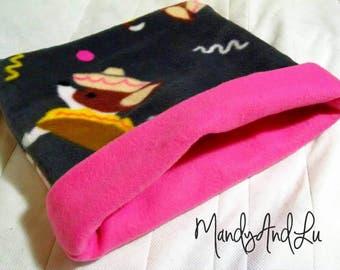 Fleece Snuggle Bag/Cuddle Sack - Taco Dogs/Grey/Pink - For Hedgehog / Rat / Guinea Pig / Chinchilla / Ferret / Sugar Glider / Small Animal
