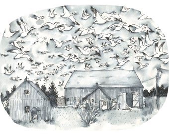 Poster illustration migration of snow geese