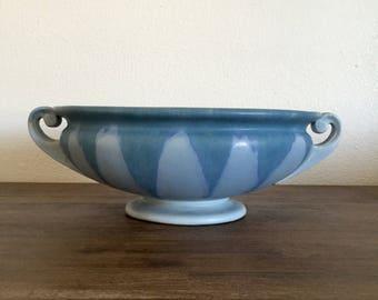 Roseville Pottery Carnelian I Blue Drip Bowl; Roseville #160-7; Carnelian I Pattern; Roseville Drip Pottery; Vintage Pottery