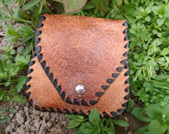 Vintage Leather Coin Purse / Small Leather Purse /  Brown Leather Coin Purse / Vintage Coin Pouch / Change Purse /  Genuine Leather Purse