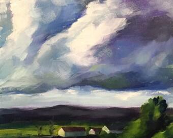 amazing view // landscape // landscape painting // landscape art // sky art // cloud painting // farm painting // farm landscape // art