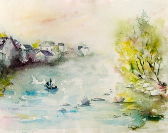 "Original  landscape watercolour painting along the river Loire - Loire valley painting - France original painting - french art - 11,8""x15,7"""