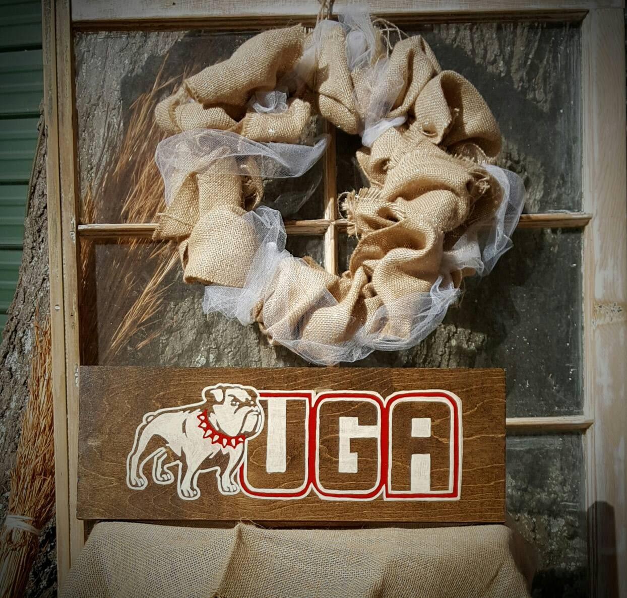 UGA UGA Decor Home Decor Hand Painted Wood Sign By