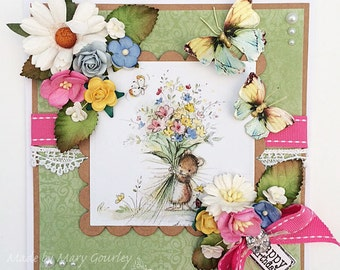 Handmade Birthday card, with flowers, ribbon, lace, faux pearls etc