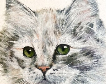 Green Eyes 3x3 gift enclosure card from my original oil painting with envelope.