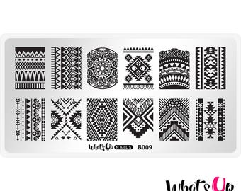 B009 Lost in Aztec Stamping Plate For Stamped Nail Art Design