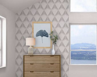 Grey & White Hexagon Wallpaper, Geometric Wall Art