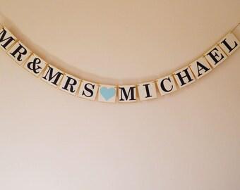 Personalised wedding bunting, wedding decoration, Mr and Mrs bunting