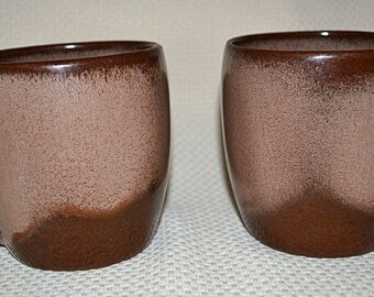 Frankoma Plainsmen Brown Satin Cups, Frankoma Pottery Mugs