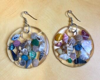 Beach earring beach lover seashell earrings resin earrings seashell earrings