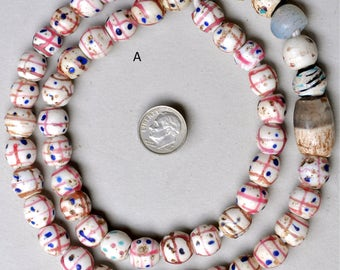 Antique Venetian Medicine Man Beads - African Trade Beads - 24 Inch Strand