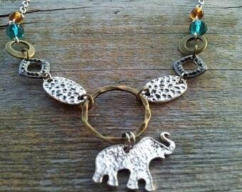 short necklace, short necklace, pendant delicate elephant, bronze