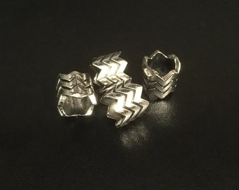 4pcs chevron spacer silver Dreadlock bead RLW615