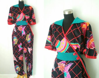 Rare Jeanne Marc Colorful Jumpsuit with Big Sleeves and Buttons | Labeled Size 16 18 Plus Size
