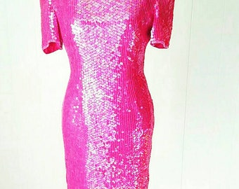 80s Pink Leslie Fay Evenings Silk Sequin Beaded Dress || Vintage Size 6