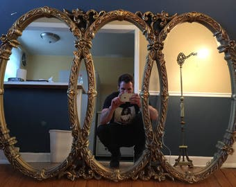 Vintage Gold Gilt Triple Mirror