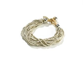 Stacking Bracelet - Boho Wrap Bracelet - Casual Silver Beaded Bracelet - Boho Wrap Silver Bracelet - Bracelet gift for Girlfriend