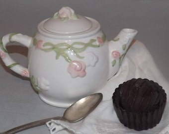 """White Teapot with Pink Rose, """"Quiet moments fills the Soul"""" , Porcelain Teapot, Teapot with Lid, Shabby Chic Teapot"""