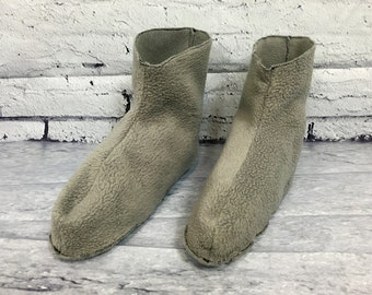Fleece pyjama/pajama slippers in organic cotton fleece