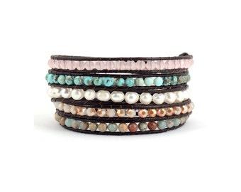 Wrap Bracelet, Boho Wrap Bracelet, Beaded Wrap Bracelet, Leather Wrap Bracelet, Beaded Bracelet, Agate wrap bracelet, 5 wrap bracelet