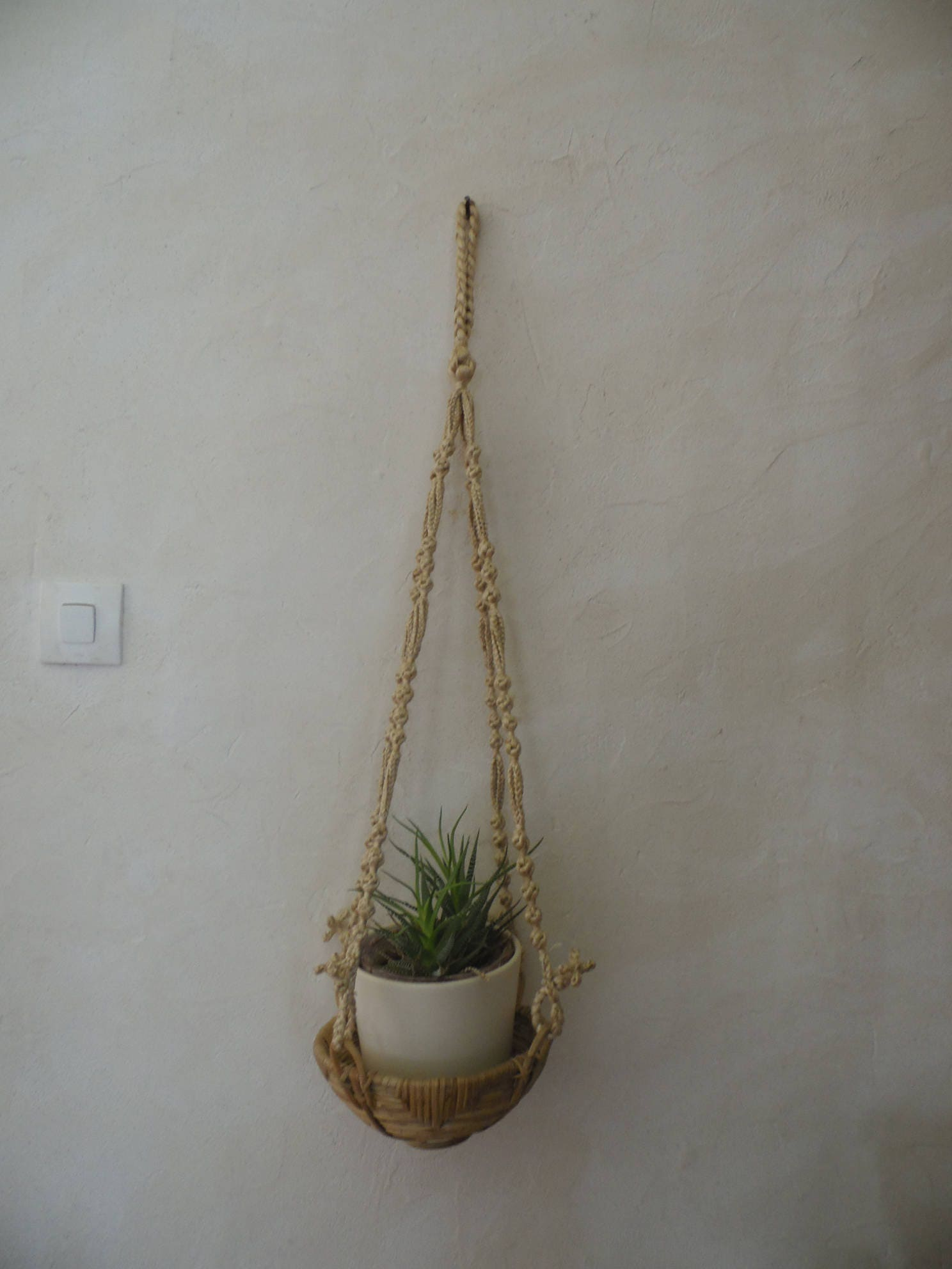 Straw Flower Hanging Baskets : Hanging macrame straw basket woven ethnic style worn plant
