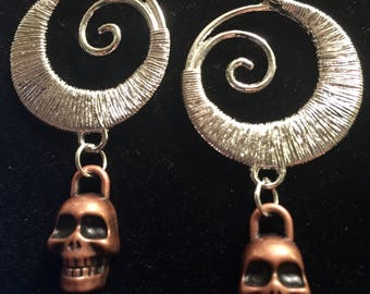 Silver swirl and copper Skull earrings
