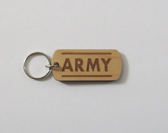 Army Laser Engraved Keychain Military Keychain