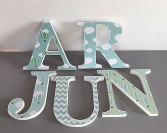 hot air ballon wooden letters~baby nursery~baby shower~green white letters~ decorated letters~ballon chevron design~