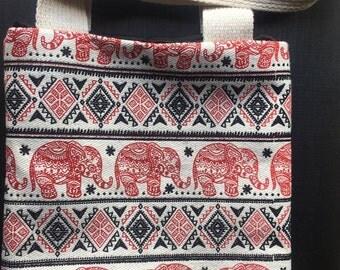 Handmade Mini HandBag Thai Elephant Printing Canvas Small Bag