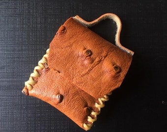 Handmade PU Leather Ostrich Skin Brown Leather Bag Dollhouse Miniature Scale1:12