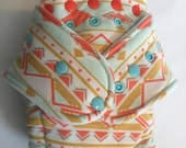 Geo Aztec Hybrid Fitted Diaper - OS One Size - Turned & Topstithed - Mint Salmon Mustard Print - super soft and squishy! Fold down rise Zorb
