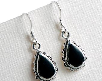 Teardrop Black Onyx 925 Sterling Silver Dangle Hook Earrings, Dangle Earrings, Onyx Earrings