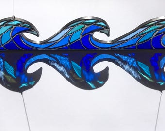 Handmade Stained Glass Crashing Waves