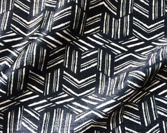 Geometric Cube Fabric Print for Upholstery in Dark Blue and White, modern small scale pattern ideal for recovering chair, sewing cushions