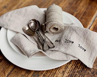 Stone washed linen napkins set, hand printed stonewashed linen, set of 4, 6, 8.