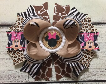 Minnie Mouse Safari Hair Bow ,Animal Kingdom Minnie Mouse Hair Bow ,Animal Print Minnie Mouse Hair Bow ,Leopard Hair Bow , Zebra Hair Bow