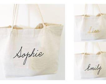 Bridesmaid bag, Set Bridesmaid bag, Personalized bag, bridesmaid gift, rustic bridesmaid tote, wedding bag, bridal party tote, Linen bag