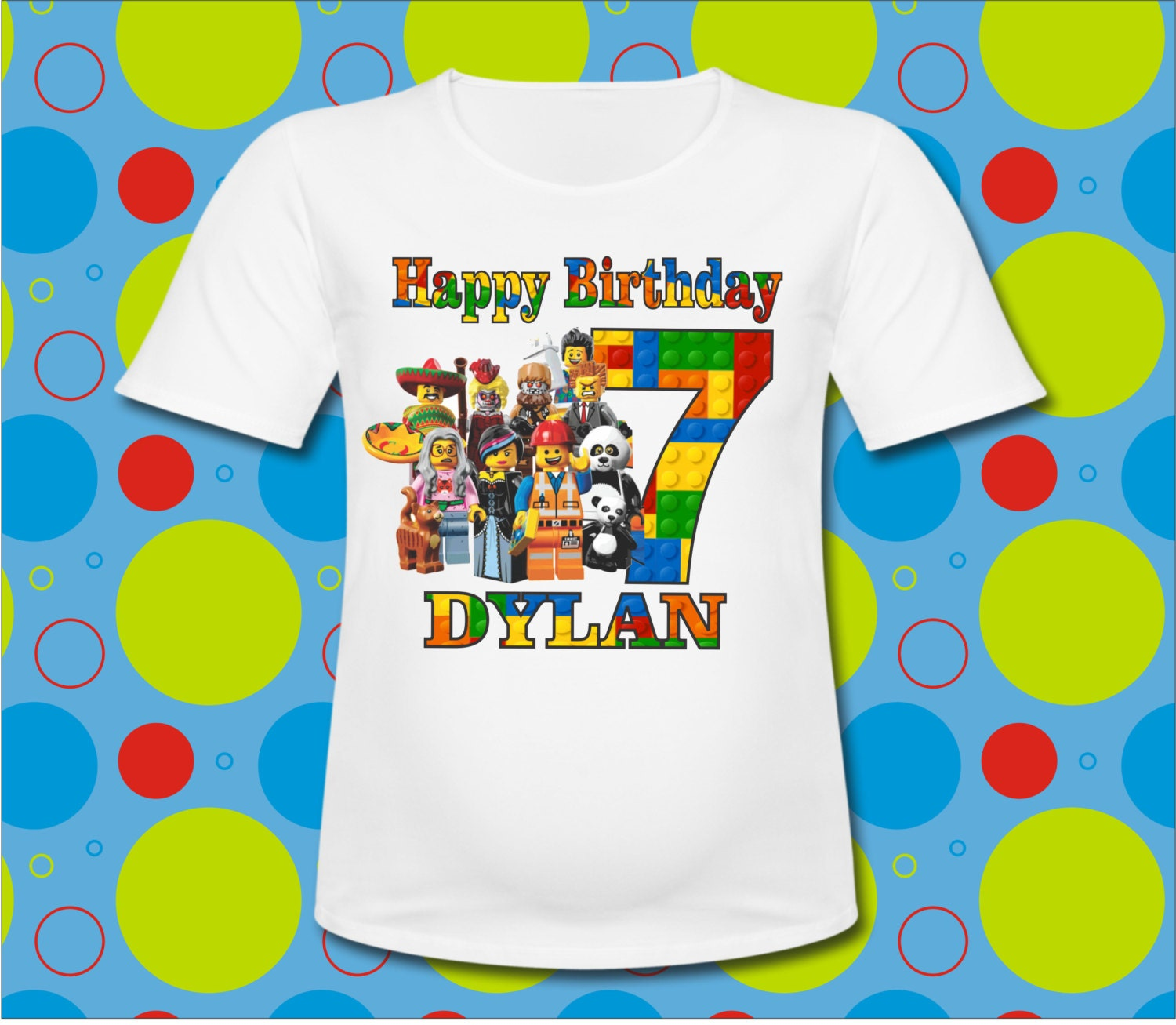 Personalized Happy Birthday Lego Characters T Shirt All SIZES
