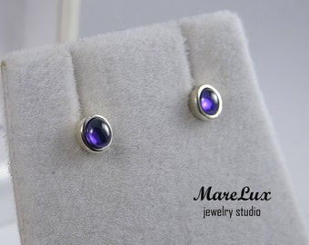 Amethyst Cabochon Silver or Gold Stud Earrings, Violet 3 mm Synthetic Amethyst, Simulate Amethyst, Little Earrings, Stud Amethyst Earrings