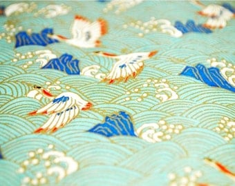 Handmade origami paper - White cranes on pale blue