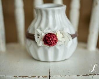 Red Newborn Photography Prop Headband, Baby Flower Headband, Handmade
