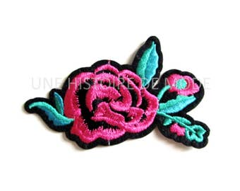 Patch, badge fusible flower, dark pink with leaves to sew or iron 87 x 55 mm-