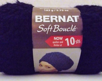 Bernat Soft Boucle Yarn ~ Colour # 46040 Ebony ~ 163 Grams/5.75 Ounces ~ 144 Yards ~ #6 Super Bulky