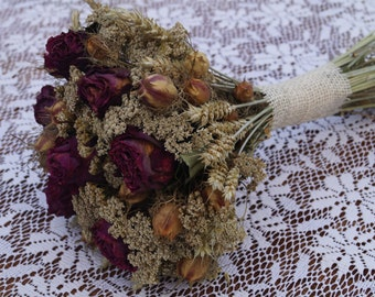 Dried flower bouquet with roses Rustic wedding bouquet Bridal bouquet Natural flower Rose bouquet Rustic decor Farmhouse decor Natural color