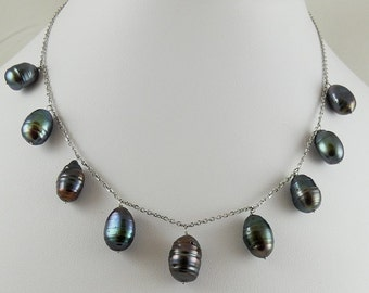 Freshwater Black Pearl Tin Cup Necklace 14k white Gold chain