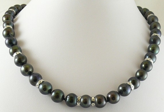 Freshwater Black 10.4mm to 9.7mm Pearl Necklace 10 Diamond Rondels 0.50ct 14KW
