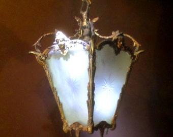 French Vintage Lantern Etched Glass Lantern french lighting bronze heads sculpture hall lantern ceiling light Louis XVI french vintage decor