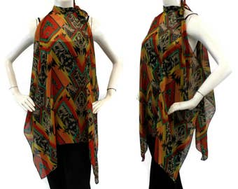 Banded Collar Tunic with Tie Knot Neck, Cold Shoulder Tunic Top, Extremely Versatile, Be the Center of Attention, One Size, Fits S to XL