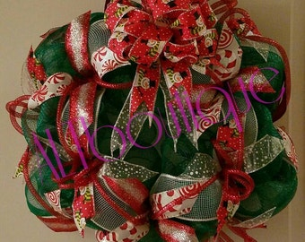 CLEARANCE WAS 40!! Christmas Wreath, Red White Green Christmas Wreath